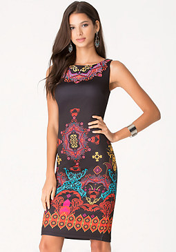 bebe Print Midi Dress