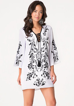 bebe Embroidered Lace Up Dress