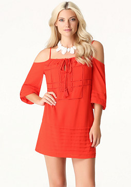 bebe Pleated Shift Dress