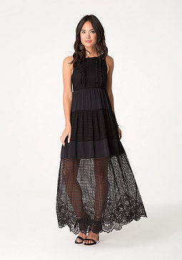 bebe Lace & Voile Maxi Dress