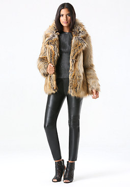 bebe Glam Faux Fur Coat