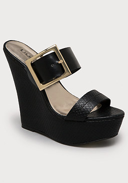 bebe Arlette Buckle Wedge Mules