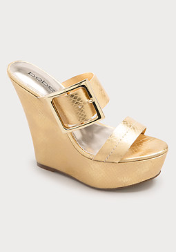 Arlette Buckle Mule Wedges at bebe