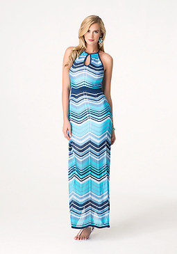 bebe Sparkle Chevron Maxi Dress