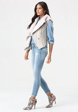 bebe Faux Suede & Faux Fur Vest