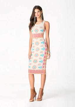bebe Lantern Jacquard Dress