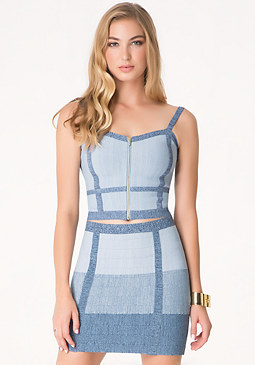 bebe Mock Denim Bandage Top