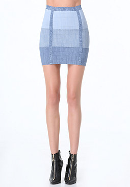bebe Mock Denim Bandage Skirt