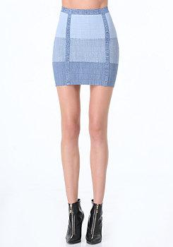 bebe Mock Denim Bandage Skirt