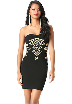 bebe Jacquard Strapless Dress