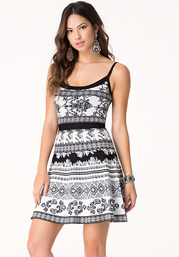 bebe Pointelle Trim Flare Dress