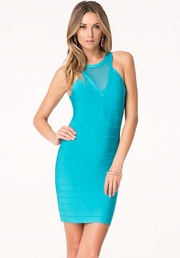 bebe Mesh Yoke Bandage Dress