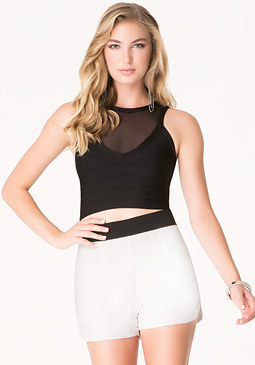 bebe Mesh Yoke Bandage Crop Top