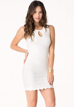 bebe Embossed Scallop Hem Dress