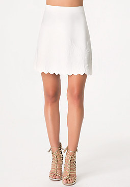 bebe Embossed Scallop Hem Skirt