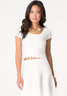 bebe Embossed Scallop Hem Top