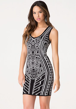 bebe Global Jacquard Dress