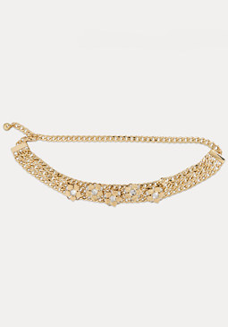 bebe Floral Chain Belt