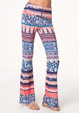bebe Print Flared Leg Pants