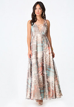 bebe Print Organza Lace Up Gown