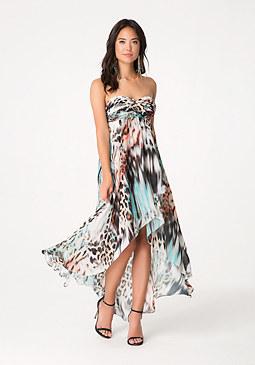bebe Print Hi-Lo Dress