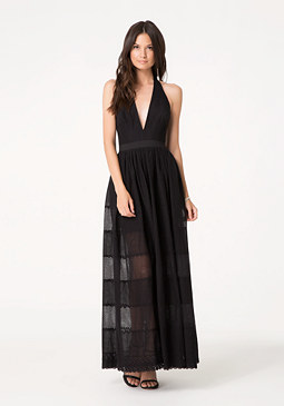 bebe Embroidered Halter Dress