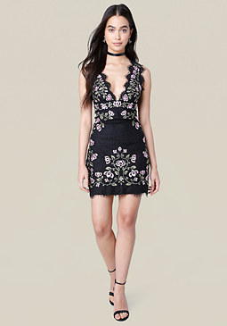 bebe Lindsey Embroidered Dress