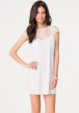 bebe Noami Macrame Lace Dress