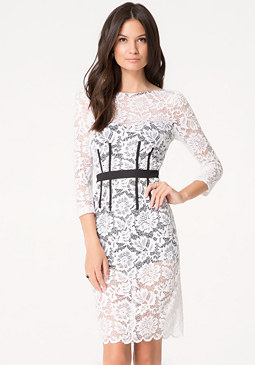 bebe Waist Accent Lace Dress