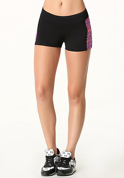 bebe Print Colorblock Shorts