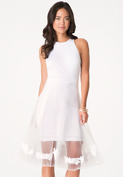 bebe Organza Overlay Dress