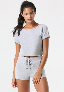 bebe Terry Boxy Crop Top