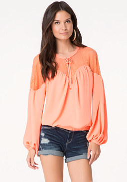 bebe Solid Lace Yoke Top