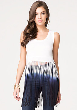 Ombre Fringed Crop Tee at bebe
