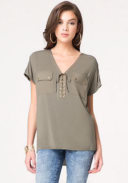 bebe Lace Up Wedge Tunic