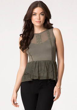 bebe Mix Lace Peasant Peplum Top