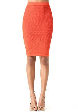 bebe Lace Hem Midi Skirt