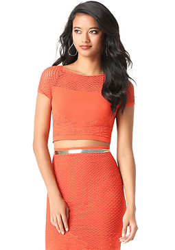bebe Lace Hem Crop Top