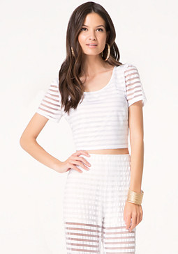 bebe Mesh Striped Crop Tee