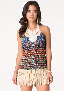 bebe Print Neck Trim Halter Top