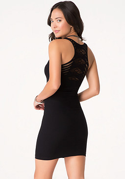 bebe Lace Back Tank Dress