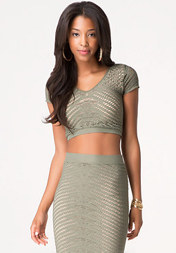 bebe Diamond Lace Crop Top