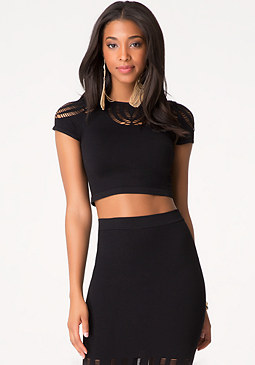 bebe Curved Slash Detail Top