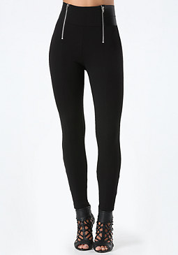 bebe High Rise Zip Leggings
