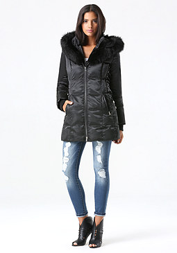 bebe Lace Up Puffer Coat