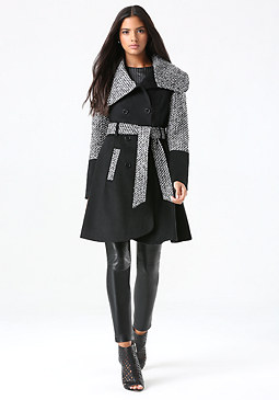 bebe Wool Tweed Block Coat