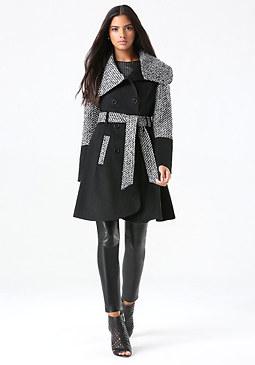 bebe Wool Tweed Block Coat