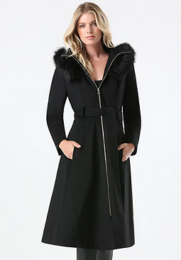 bebe Black Wool Hooded Coat