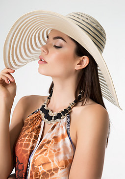 Organza & Straw Floppy Hat at bebe