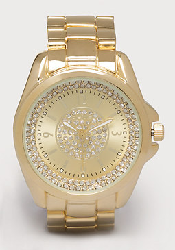 bebe Rhinestone Ring Link Watch